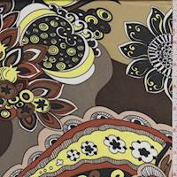 Olive Brown Multi Stylized Floral Polyester Charmeuse
