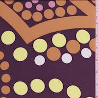 Mulberry/Orange Polka Dot Polyester Charmeuse