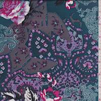 Teal Blue Floral Paisley Polyester Charmeuse