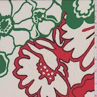Porcelain/Kelly/Coral Bold Floral Challis