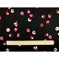 *2 YD PC--Black/Multi Floral Print Tricot