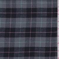 *2 1/2 YD PC--Grey/Black Plaid Flannel