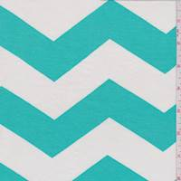 White/Aqua Green Chevron Rayon Jersey Knit