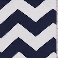 White/Navy Chevron Rayon Jersey Knit