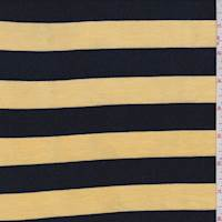 Yellow/Navy Stripe Rayon Jersey Knit