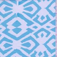 Turquoise/White Ikat Rayon Jersey Knit