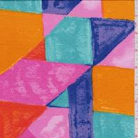 Hot Pink/Aquamarine/Orange Color Block Rayon Jersey Knit