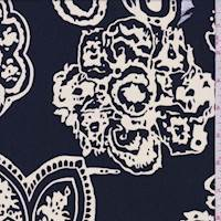 Ink Blue/Cream Floral Medallion Crepe De Chine