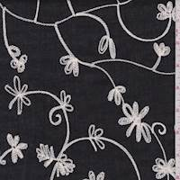 Black/White Embroidered Floral Cotton
