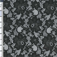 *1 1/2 YD PC--Black Poly Floral Lace