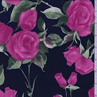 Navy/Hot Pink Floral Double Knit