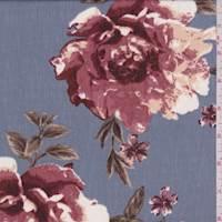 *5 5/8 YD PC--Wedgewood Blue Floral Print Crinkled Chiffon
