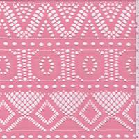 Melon Pink Stripe Mesh Lace