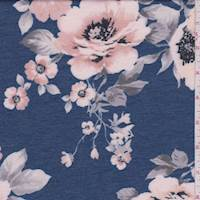 Denim Blue/Peach Floral Double Knit