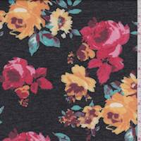 Off Black Multi Floral Double Knit