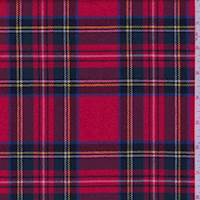 *1 1/2 YD PC--Bright Red Tartan Plaid Wool Suiting