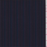 *1 1/2 YD PC--Navy Multi Stripe Polyester Suiting