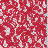 *1 3/4 YD PC--Poppy Red Rayon Scroll Lace