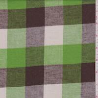 *7/8 YD PC--Lime/Brown/Ecru Buffalo Plaid Flannel