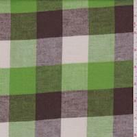 *4 3/8 YD PC--Lime/Brown/Ecru Buffalo Plaid Flannel