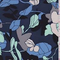 *7/8 YD PC--Slate Blue Modern Floral Silk Crepe de Chine