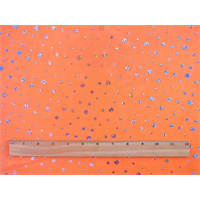 *5 5/8 YD PC--Neon Orange/Silver Holographic Polka Dot Stretch Mesh