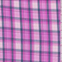 Rose Pink Plaid Cotton Shirting