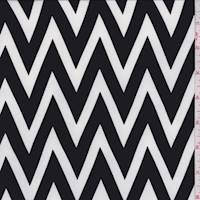 Black/White Chevron Crepe de Chine
