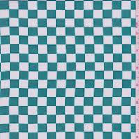 Aqua Green/White Check Chiffon