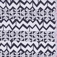 White/Black Geometric Zig Zag Chiffon