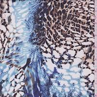 Brown/Sky/White Animal Print Chiffon