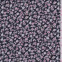 Black/White/Pink Tossed Floral Chiffon
