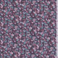 Burgundy Mini Floral Crinkled Chiffon