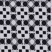 *4 1/4 YD PC--White/Black Geometric Check Jacquard Knit