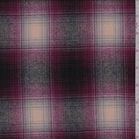 *1/2 YD PC--Cranberry/Ivory Plaid Wool Flannel Suiting