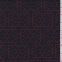 *1 YD PC--Black/Maroon Modern Jacquard Knit