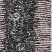 *3 YD PC--Brown/Black Snakeskin Print Silk Crepe de Chine