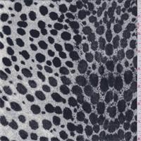 *1 7/8 YD PC--Gardenia White Leopard Print Crepe de Chine
