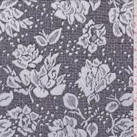 *4 YD PC--Graphite Grey/White Rose Jacquard Double Knit