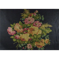 *2 PANELS--Black/Multi Texnova Floral Tapestry Home Decorating Fabric