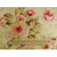*5 YD PC--Beige/Pink Covington Poppies Print Home Decorating Fabric