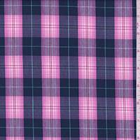 Navy/Hot Pink Plaid Shirting