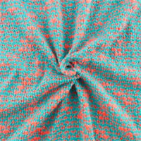 Turquoise/Neon Coral Boucle Sweater Knit
