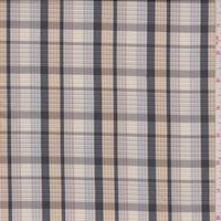 *5 YD PC--Beige/Black Plaid Taffeta