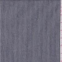 Black/White Ticking Stripe Stretch Denim