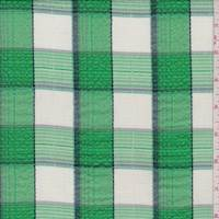 Spring Green Check Seersucker Shirting