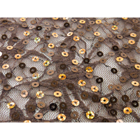 *2 5/8 YD PC--Brown/Gold Sequin Stretch Lace