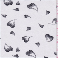 *3 5/8 YD PC--White/Black Heart Print Rayon Jersey Knit
