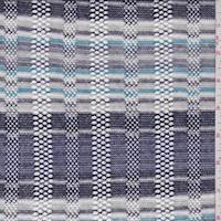 *1 3/4 YD PC--Blue/Grey/Turquoise Stripe Pointelle Knit