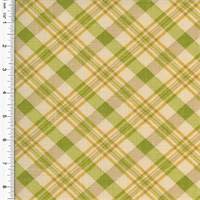 *3 YD PC--Designer Cotton Chit Chat Plaid Print Green Home Decorating